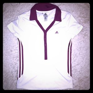 Adidas White with Maroon Short Sleeve Top